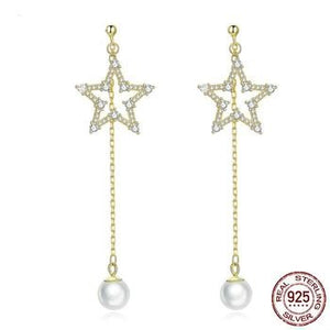 Long Pearl Star Earrings