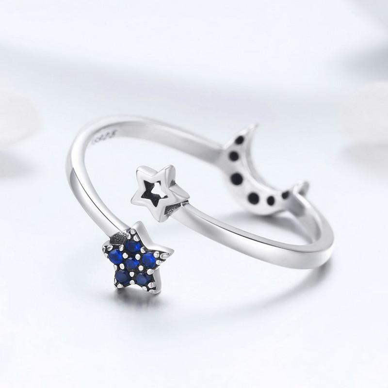 Silver Sparkling Blue Moon Star Ring