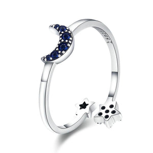 Silver Sparkling Blue Moon Star Ring | Women Jewelry | Women Ring