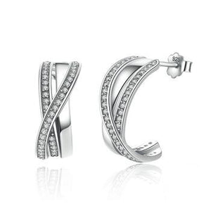 Silver Entwined with Clear CZ Stud Earrings