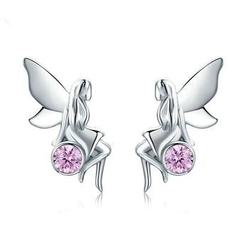 Sterling Silver Flower Fairy Pink Stud Earrings