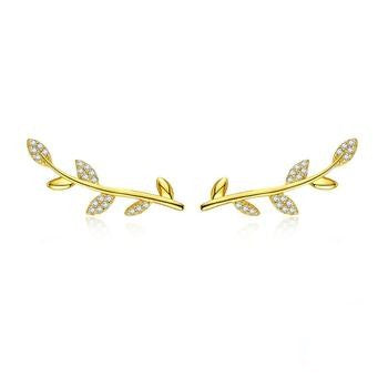 Tree Leaves Gold Color Earrings