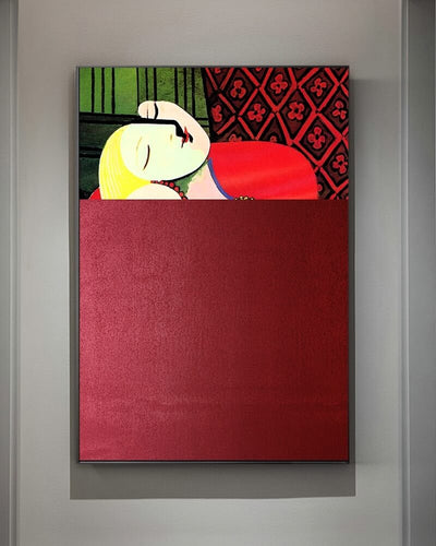 Red canvas wall art painting in front of white wall