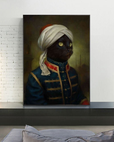 Mikesch cat canvas showing portrait of tomcat in human dress