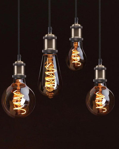 Light bulbs in retro style hanging from ceiling