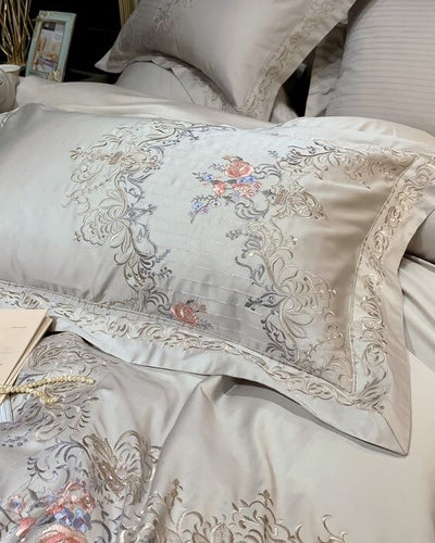 Versailles Bedding in shiny grey silver presented in detail showing ornaments and embroidery