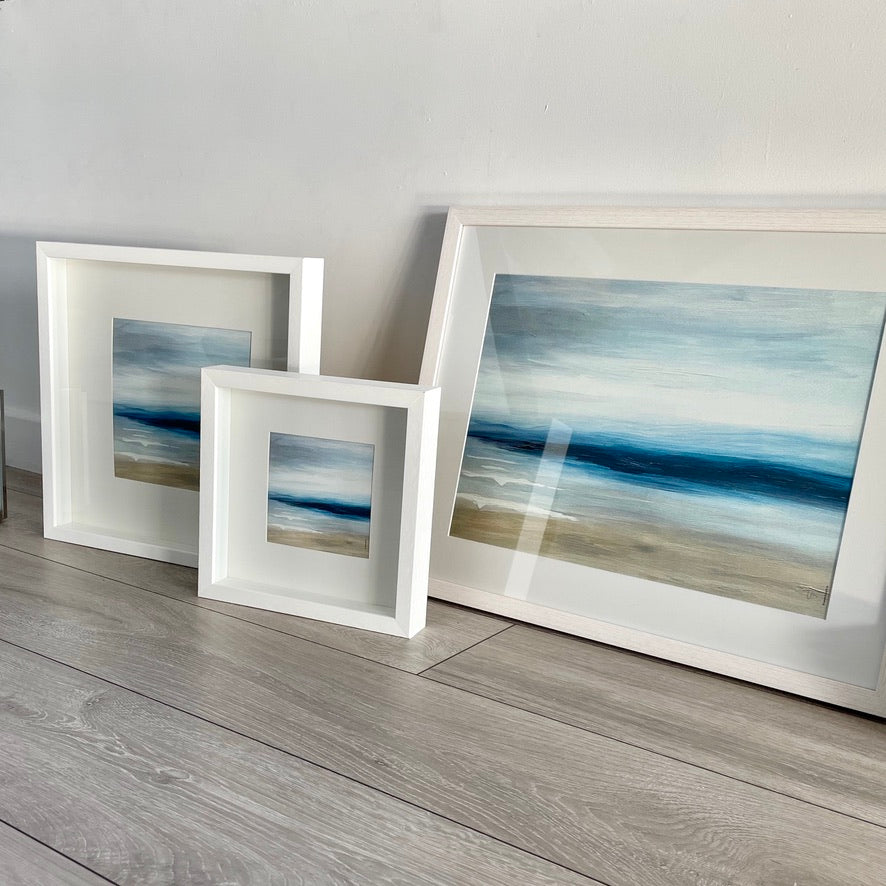 'Sandy Shore', abstract seascape print - framed or unframed