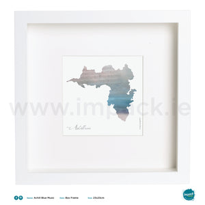 'Achill Blue Music', Print in a white box frame