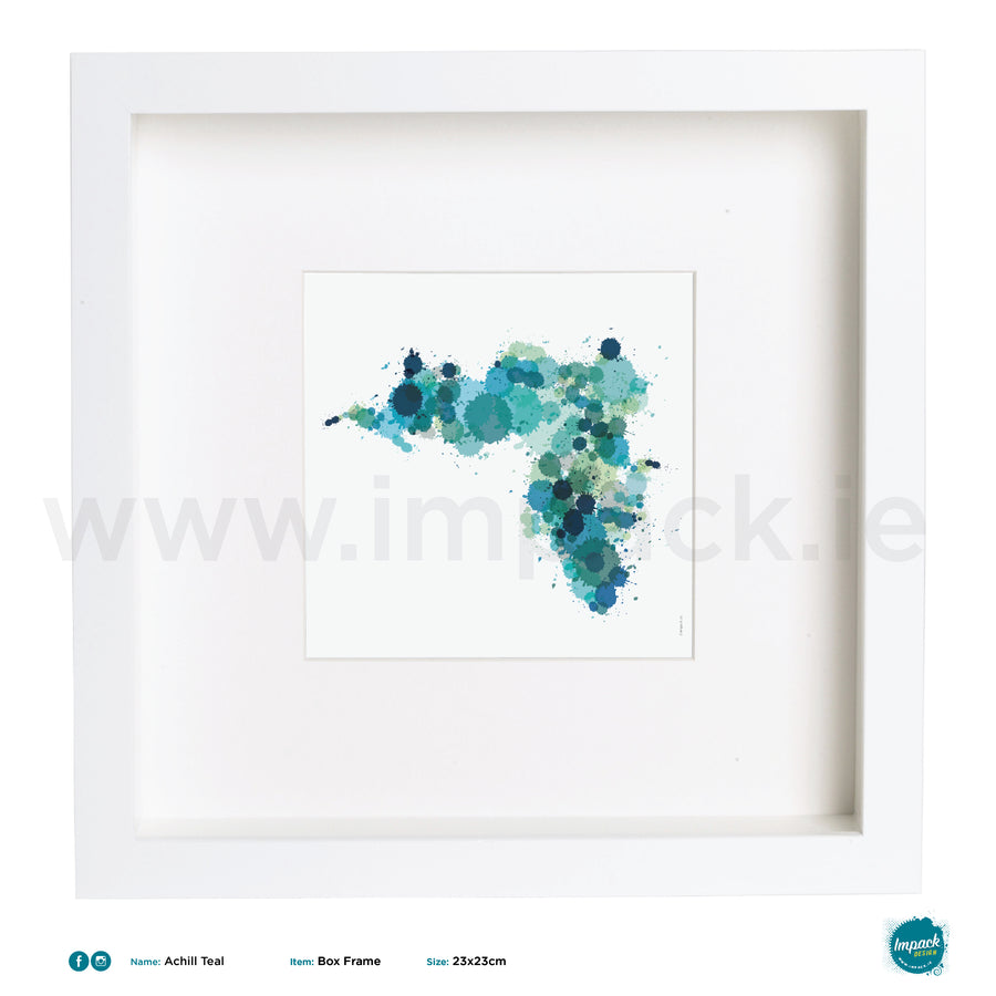 'Achill Teal', Art Splat Print in a white box frame
