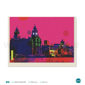 "Greetings Card - Liverpool - ""The 3 Graces - Pink"""