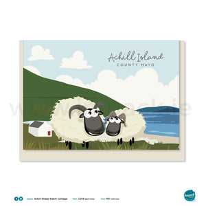 Greetings Card - Achill Sheep Keem Bay Cottage