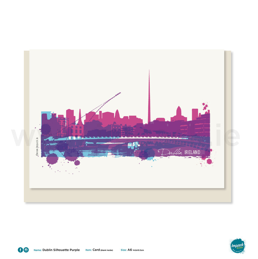 "Greetings Card - ""Dublin Silhouette Purple"""