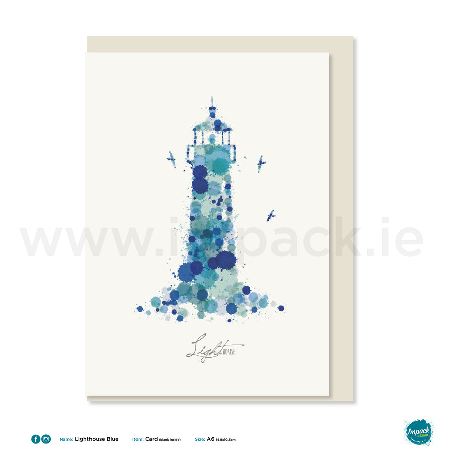"Greetings Card - ""Lighthouse Blue"""