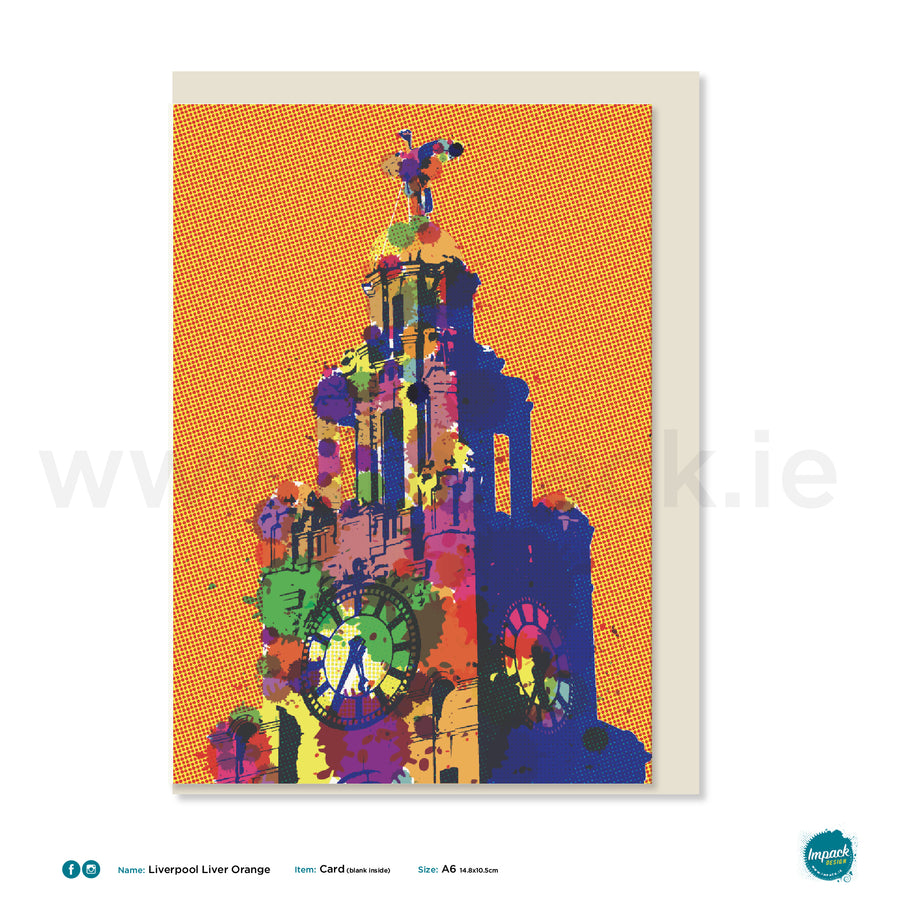 "Greetings Card - Liverpool - ""Liverpool Liver Bird - Orange"""