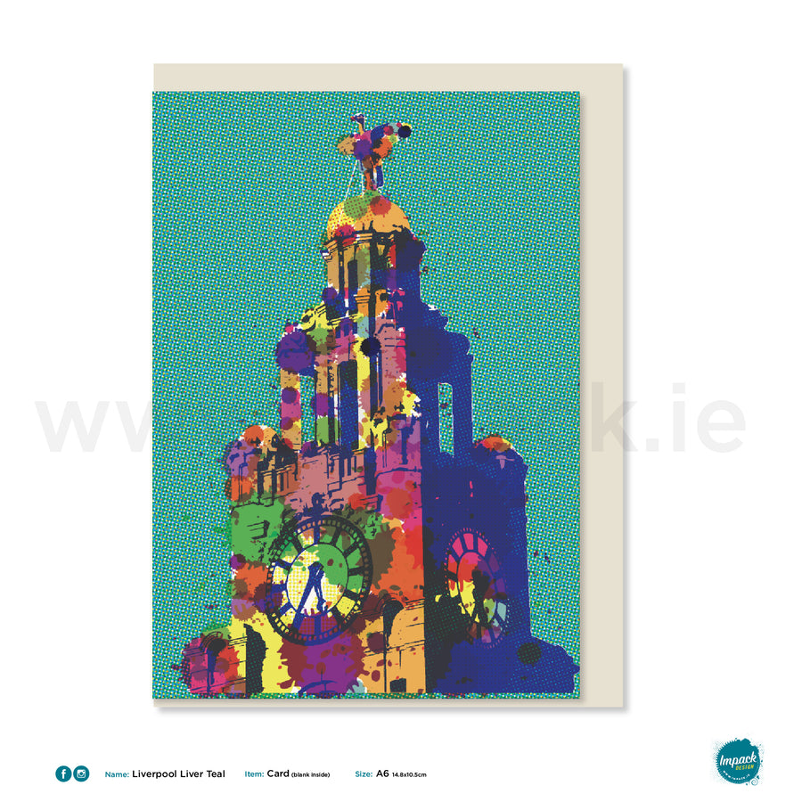 "Greetings Card - Liverpool - ""Liverpool Liver Bird - Teal"""