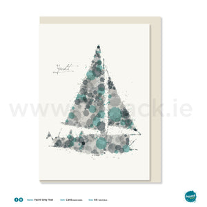 "Greetings Card - ""Yacht Grey Teal"""