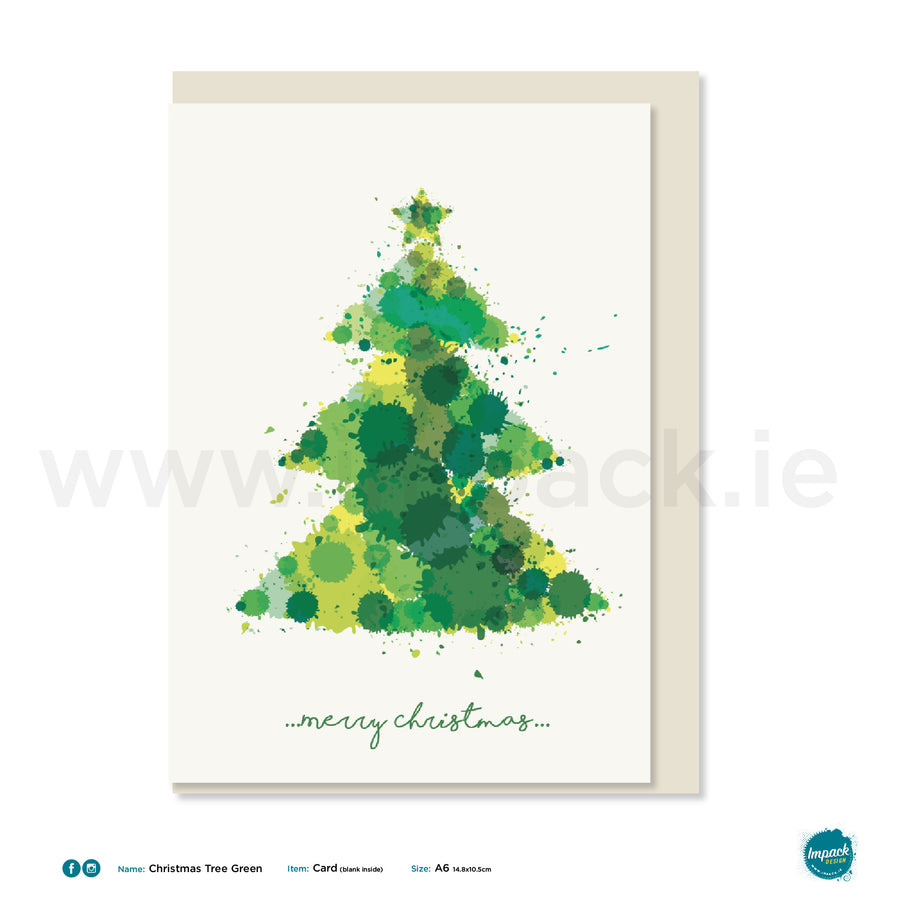 "Greetings Card - ""Christmas Tree Green"""