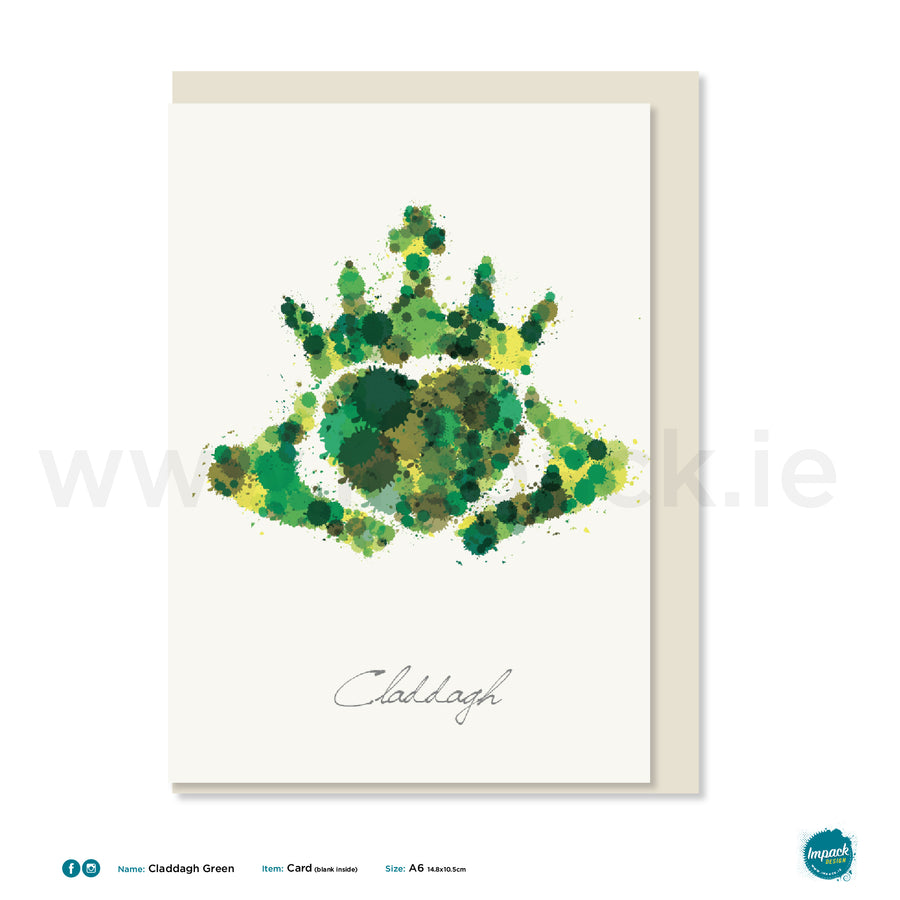 "Greetings Card - ""Claddagh Green"""