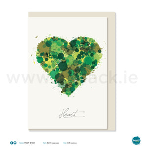 "Greetings Card - ""Heart Green"""