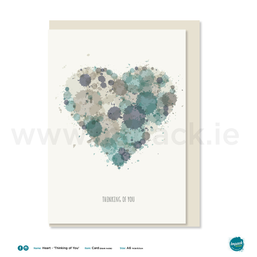 "Greetings Card - ""Heart Soft Green- Thinking of you"""