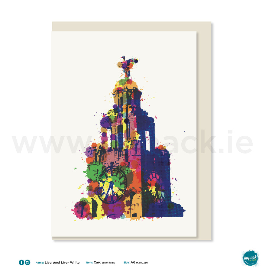 "Greetings Card - Liverpool - ""Liverpool Liver Bird - White"""