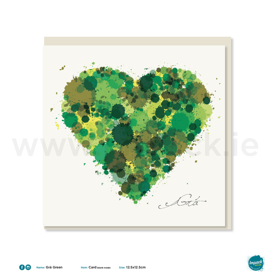 "Greetings Card - ""Heart Green Grá Square"""