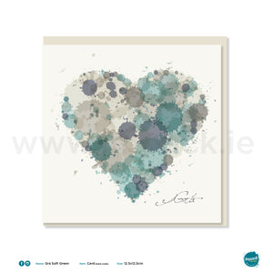 "Greetings Card - ""Heart Soft Green Grá Square"""