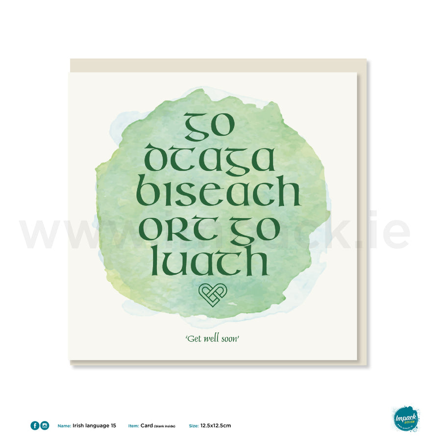 "Irish Greetings Card - ""Get well soon"""