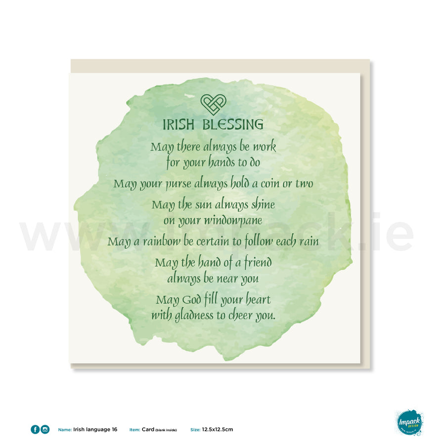 "Irish Greetings Card - ""Old Irish Blessing"""