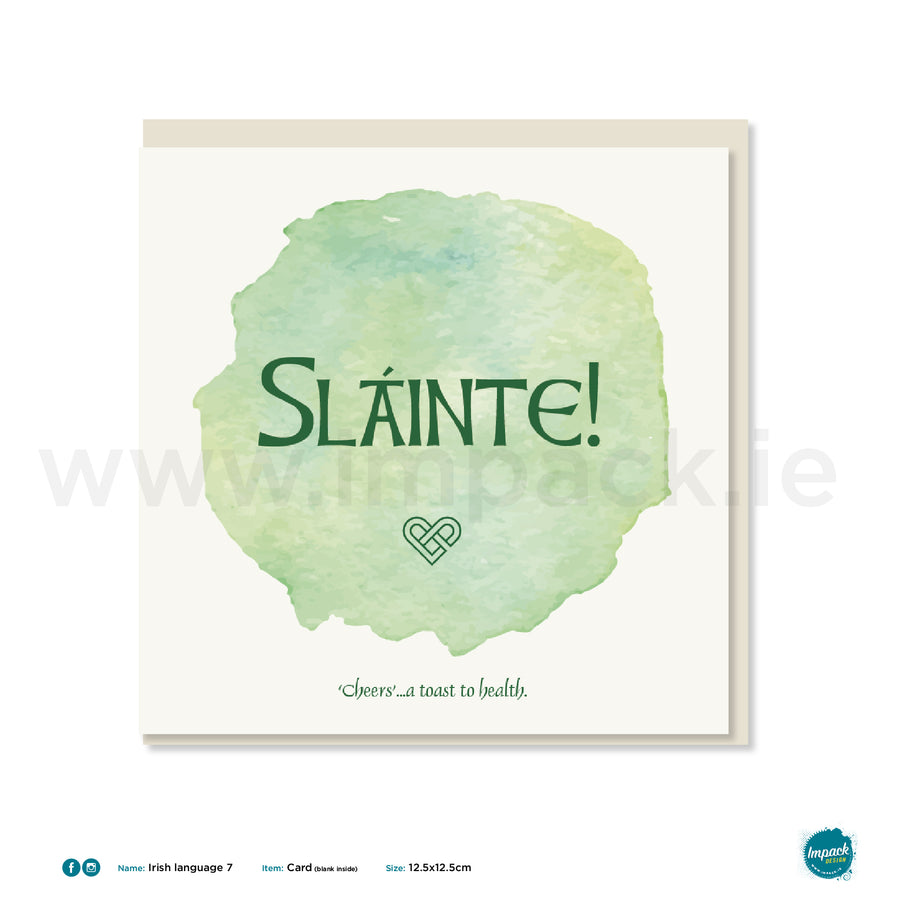 "Irish Greetings Card - ""Sláinte! Cheers- A toast to health"""