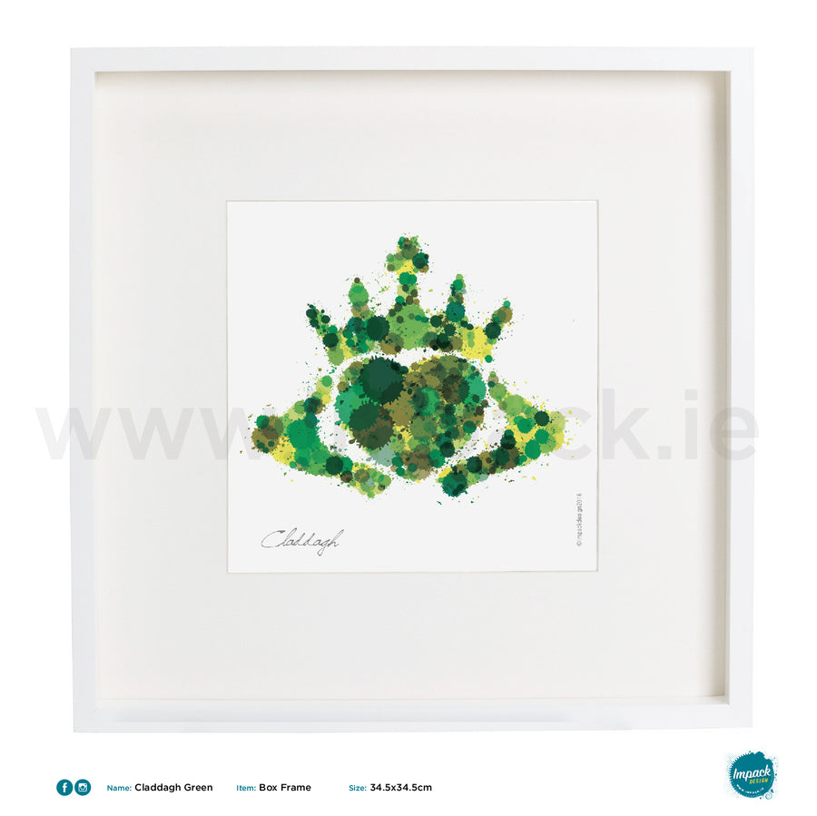 'Claddagh Green', Art Splat Print in a white box frame