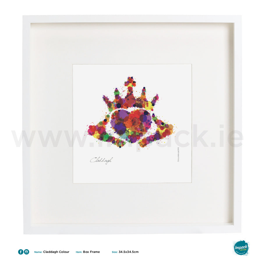 'Claddagh Colour', Art Splat Print in a white box frame