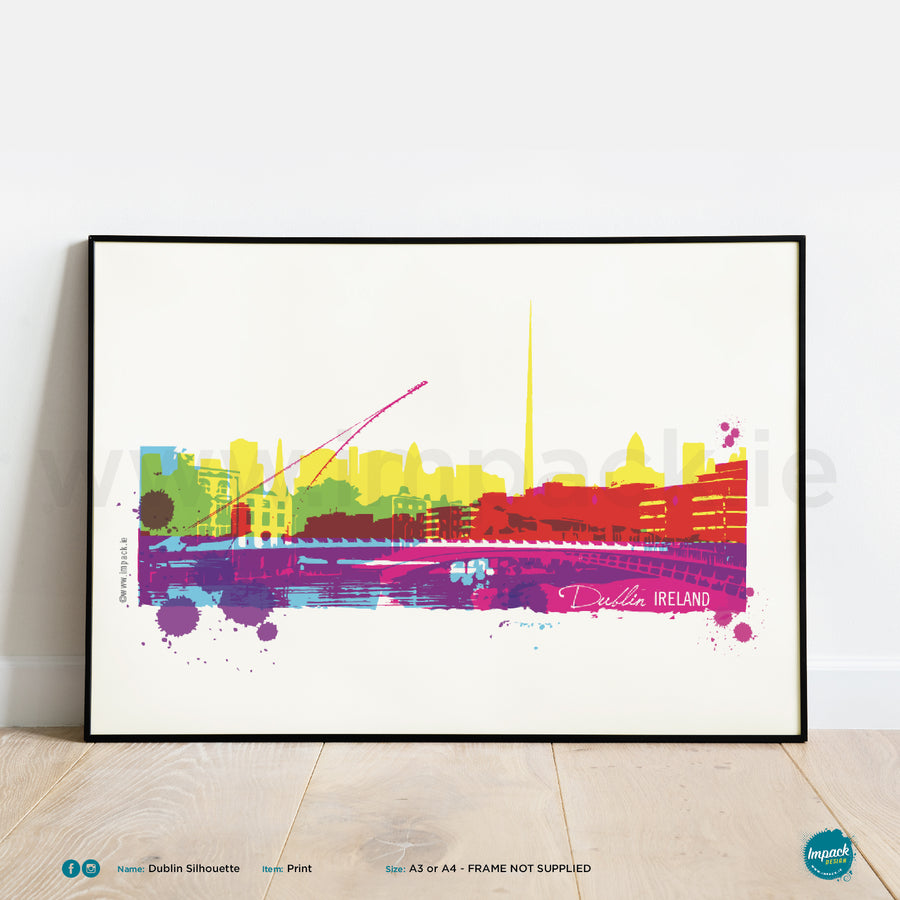 'Dublin Silhouette', Unframed - Wall art print, poster or mount
