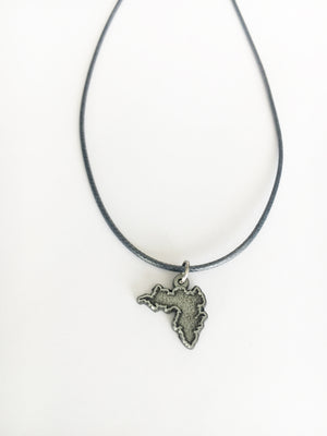 Inish Achill Island shaped Pendant with Cord