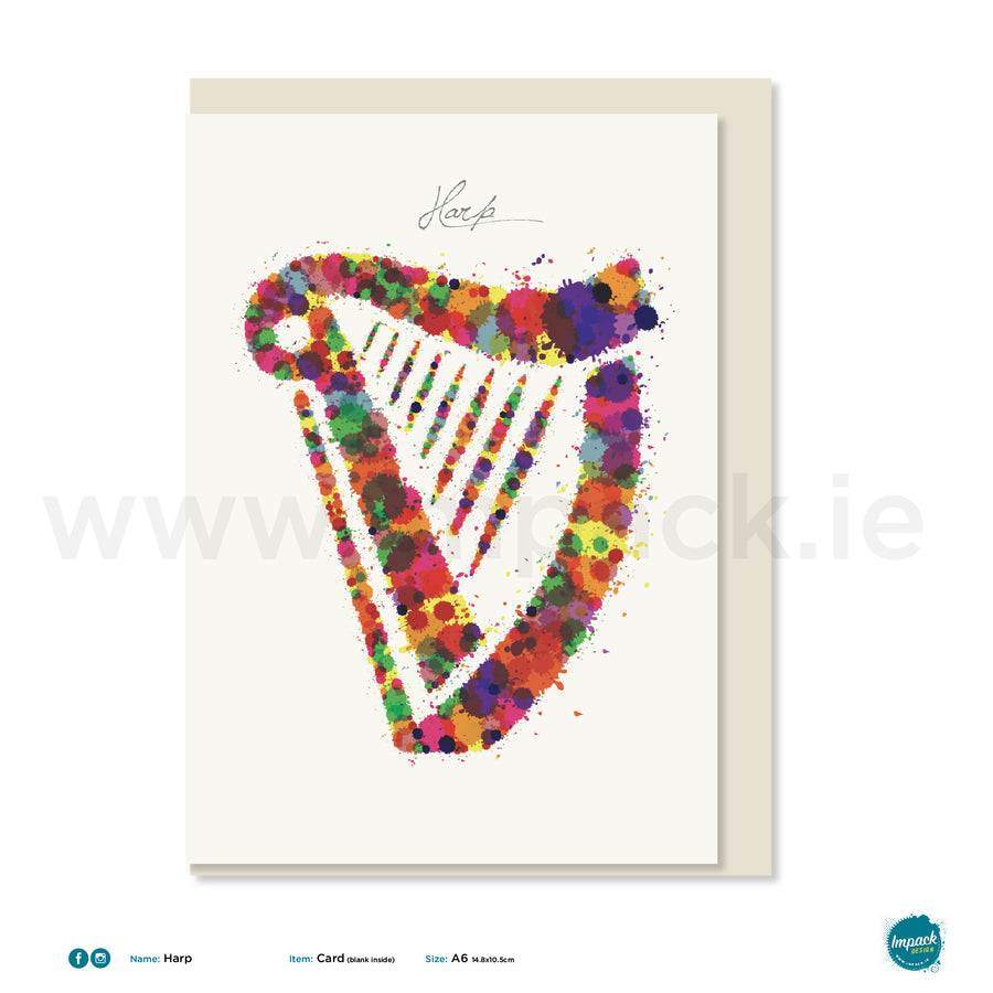 "Greetings Card - ""Harp"""