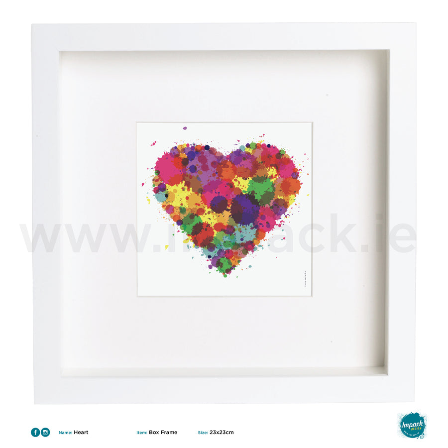 'Heart Colour', Art Splat Print in a white box frame