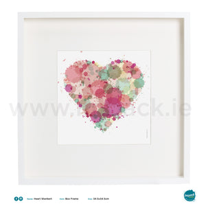 'Heart Sherbert', Art Splat Print in a white box frame