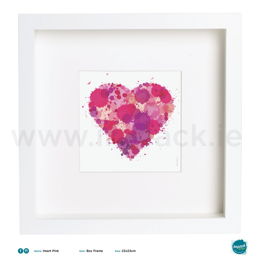'Heart Pink', Art Splat Print in a white box frame