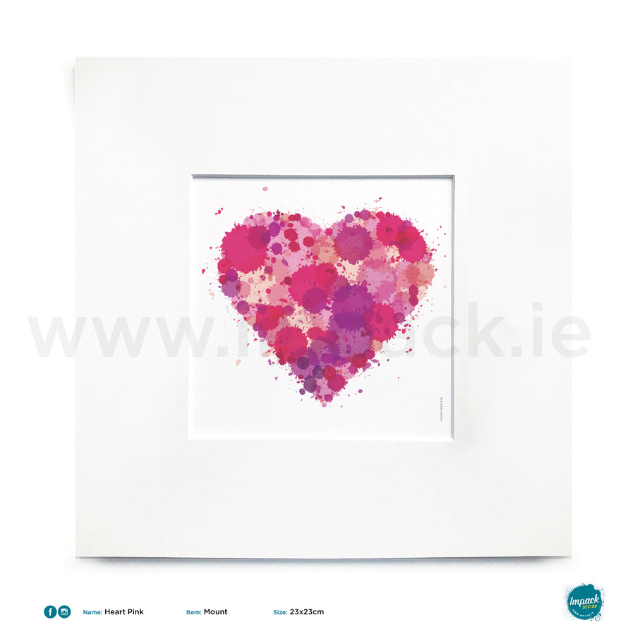 'Heart Pink', Unframed - Wall art print, poster or mount