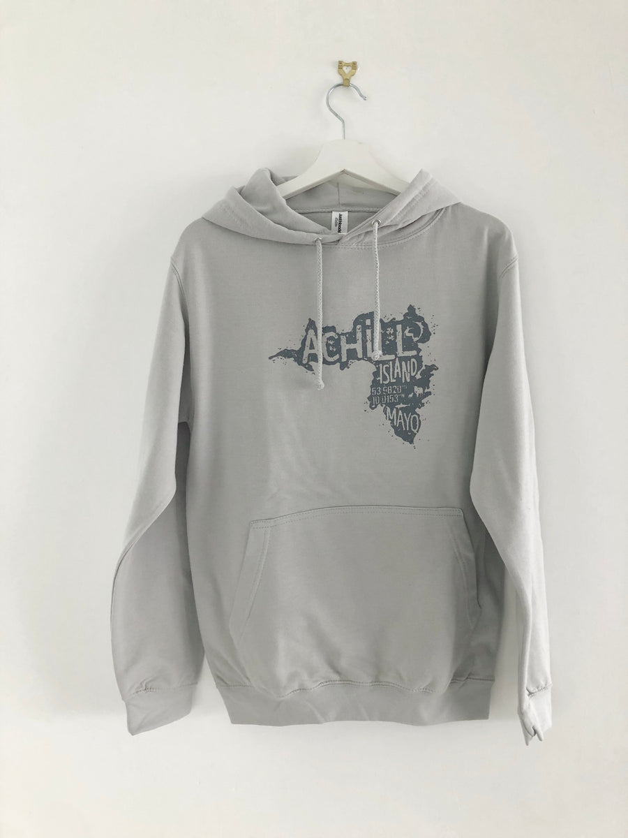 Adult Hoodie - Moondust Grey with screen printed Achill Island logo - Unisex
