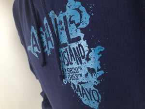 Adult Hoodie - Oxford Navy with screen printed Achill Island logo - Unisex