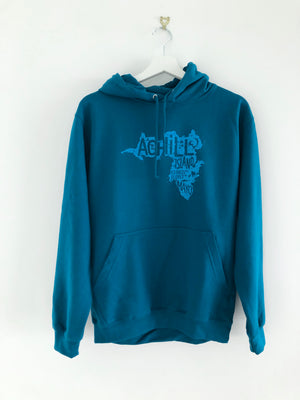 Adult Hoodie - Deep Sea Blue with screen printed Achill Island logo - Unisex