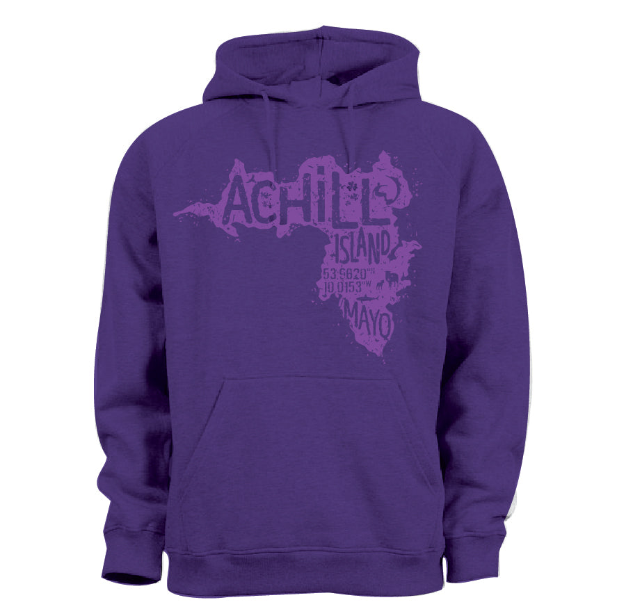Kids Hoodie - Purple with screen printed Achill Island logo - Unisex