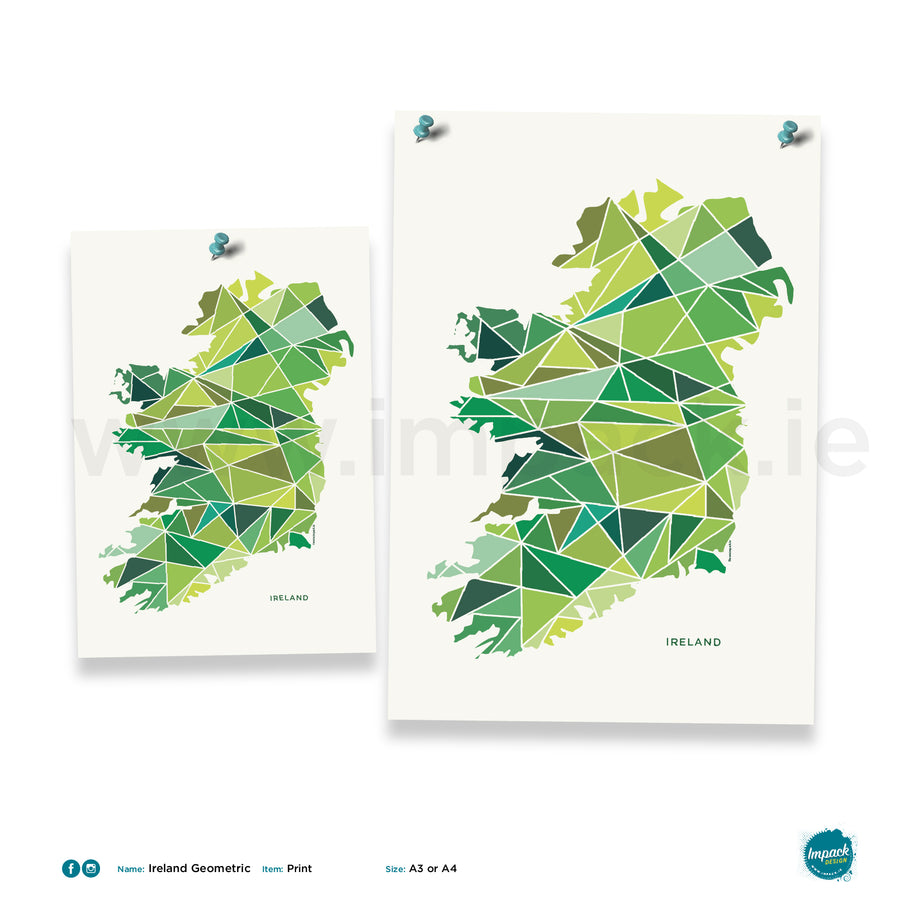 'Ireland Geometric', print - framed or unframed