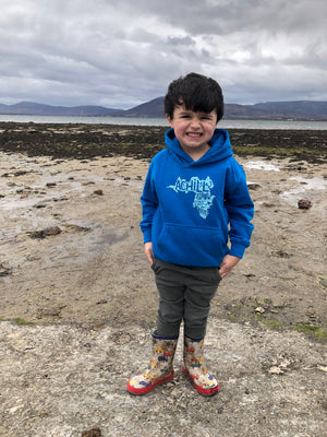 Kids Hoodie - Sapphire Blue with screen printed Achill Island logo - Unisex