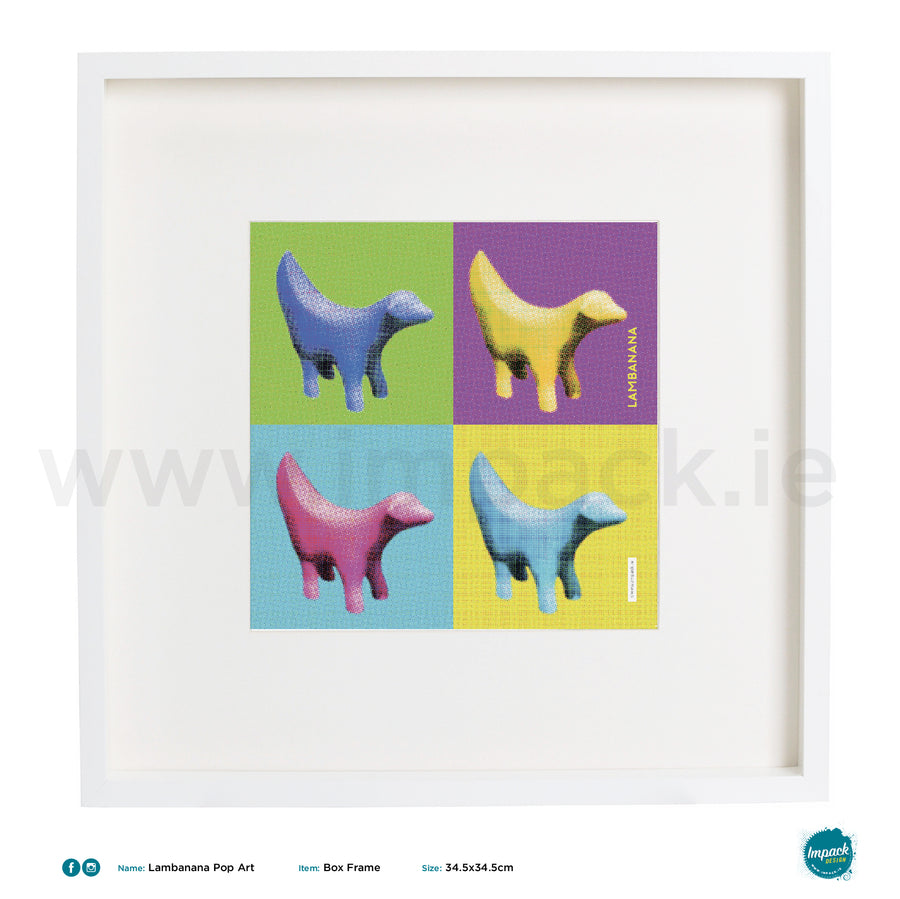 'Lambanana Pop Art', Print in a white box frame