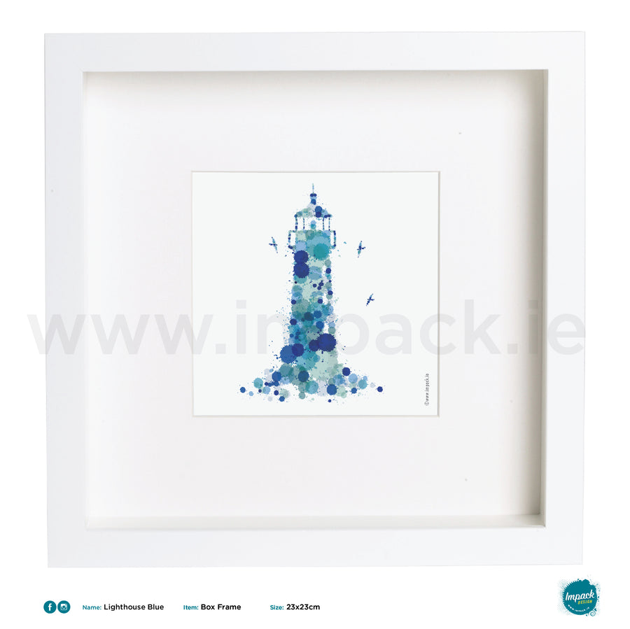 'Lighthouse Blue', Art Splat Print in a white box frame