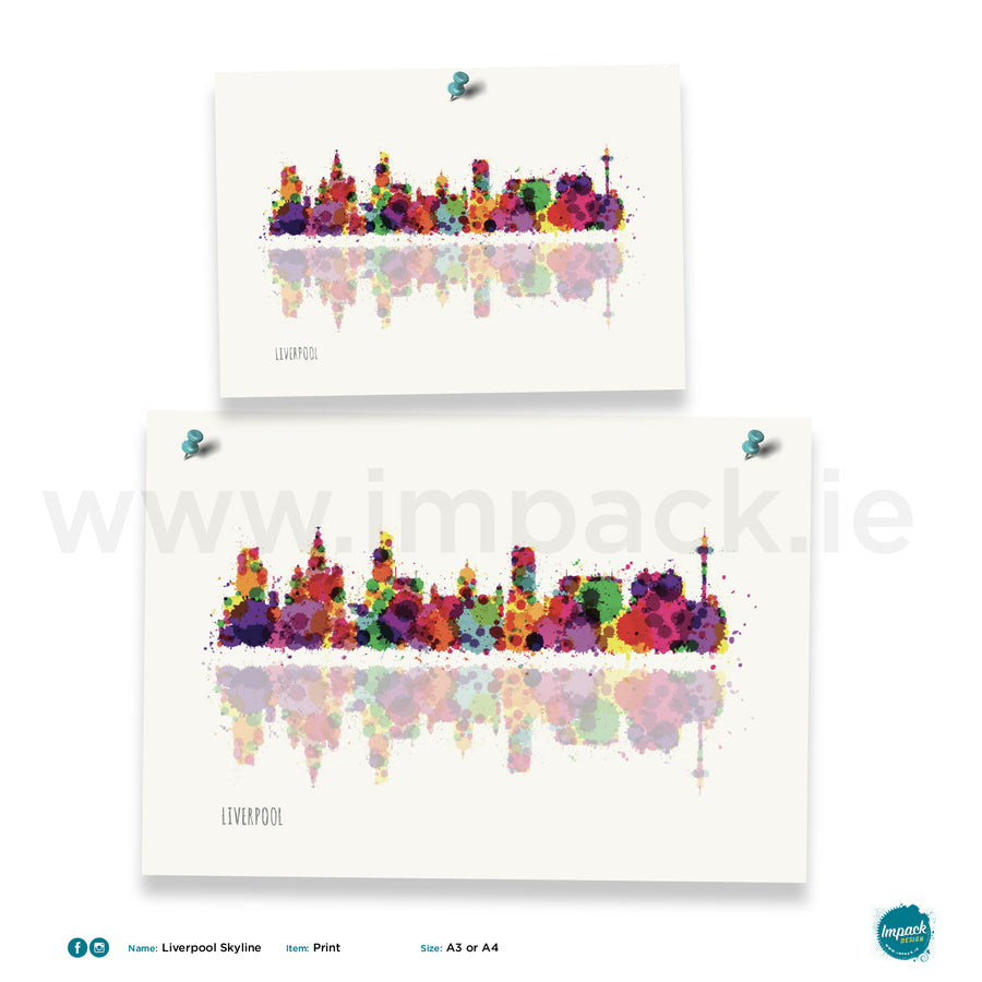 'Liverpool Skyline', Unframed - Wall art print, poster or mount