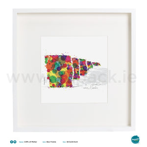 'Moher Colour', Art Splat Print in a white box frame