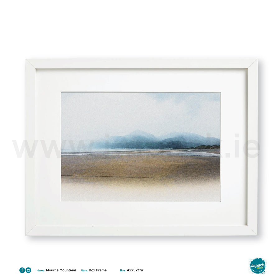 'Mountains of Mourne,' Print in a 52x42cm white box frame